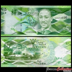 BARBADE - Billet de 5 Dollars - Sir Frank Mortimer Maglinne Worrell - 2013 P74a