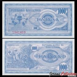 MACEDOINE DU NORD - Billet de 1000 Denari - Récolte de tabac - 1992 P6a