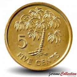 SEYCHELLES - PIECE de 5 Cents - Arbre à Manioc - 1982 Km#47a