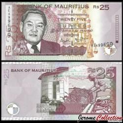 MAURICE (ile) - Billet de 25 Roupies - Sir Moilin Jean Ah-Chuen - 1999 P49a