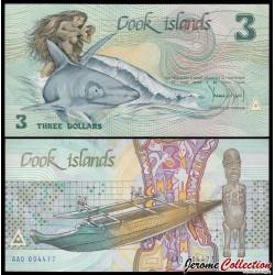 ILES COOK - BILLET de 3 DOLLARS - 1987