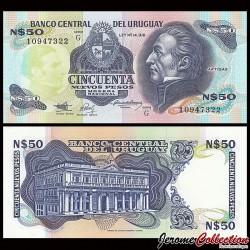 URUGUAY - Billet de 50 Nuevos Pesos - Général José Gervasio Artigas - 1989 P61A(2)
