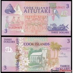 ILES COOK - BILLET de 3 DOLLARS - Église chrétienne, Avarua - 1992