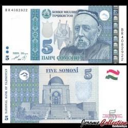 TADJIKISTAN - Billet de 5 Somoni - Avicenne - 2013 P23a