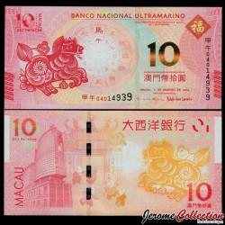 MACAO - BNU - Billet de 10 Patacas - Année Lunaire Chinoise du Cheval - 2014 P87a