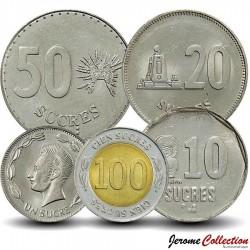 EQUATEUR - SET / LOT de 5 PIECES - 1 10 20 50 100 200 Sucres - 1989 1997 Km#89 92 93 94 101
