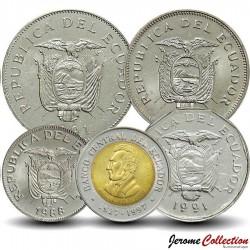 EQUATEUR - SET / LOT de 5 PIECES - 1 10 20 50 100 200 Sucres - 1989 1997