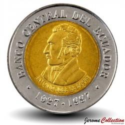 EQUATEUR - PIECE de 100 Sucres - 70 Ans de la Banque centrale - 1997 Km#101