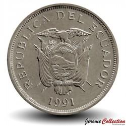 EQUATEUR - PIECE de 50 Sucres - Masque indigène - 1991