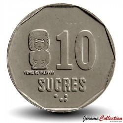 EQUATEUR - PIECE de 10 Sucres - Vénus de Valdivia - 1991 Km#92.2