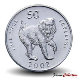 SOMALIE - PIECE de 50 shillings - Singe mandrill - 2002 Km#111