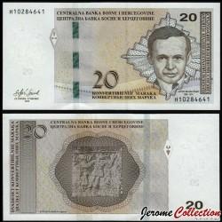 BOSNIE HERZEGOVINE - Billet de 20 Mark convertible - Antun Branko Šimić - 2019 P82b