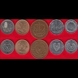CHYPRE - SET / LOT de 5 PIECES de 1 3 5 10 25 Mils - 1955 1972 1977 1982