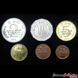 SRI LANKA - SET / LOT de 6 PIECES de 25 50 Cents 1 2 5 10 Roupies - 2005 2009 2011 2013