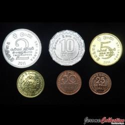 SRI LANKA - SET / LOT de 6 PIECES de 25 50 Cents 1 2 5 10 Roupies - 2005 2009 2011 2013