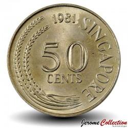 SINGAPOUR - PIECE de 50  Cents - Rascasse volante - 1978