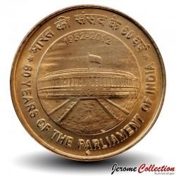 INDE - PIECE de 5 Roupies - 60 ans du Parlement indien - 2012 Km#404