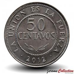 BOLIVIE - PIECE de 50 Centavos - 2012 Km#216