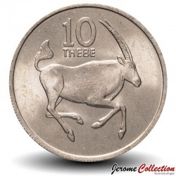 BOTSWANA - PIECE de 10 Thebe - Oryx de l'Afrique du Sud - 1976 Km#5