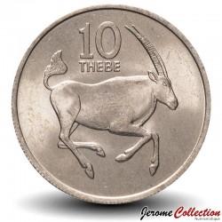 BOTSWANA - PIECE de 10 Thebe - Oryx de l'Afrique du Sud - 1976