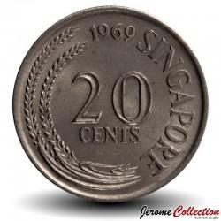 SINGAPOUR - PIECE de 20 Cents - Un espadon - 1974