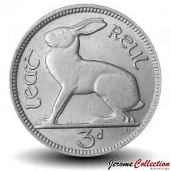 IRLANDE - PIECE de 3 Pingin - Un lièvre - 1968 Km#12a