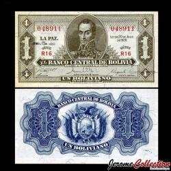 BOLIVIE - Billet de 1 Boliviano - Simón Bolívar - 1952 P128c.2