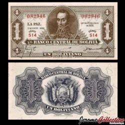 BOLIVIE - Billet de 1 Boliviano - Simón Bolívar - 1952 P128c.1