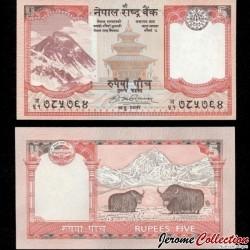 NEPAL - Billet de 5 Roupies - Yaks, Everest - 2008