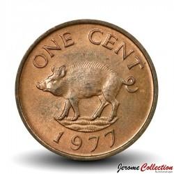 BERMUDES - PIECE de 1 Cent - Petit Sanglier - 1977 Km#15