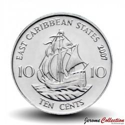 "CARAIBE ORIENTALE - PIECE de 10 Cents - Bateau ""Golden Hind"" - 2009 Km#37a"