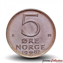 NORVEGE - PIECE de 5 Øre - 1980