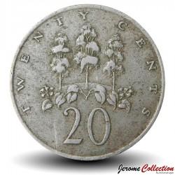 JAMAIQUE - PIECE de 20 Cents - Arbre maohes bleus - 1969 Km#48