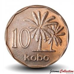 NIGERIA - PIECE de 10 Kobo - Palmiers - 1991 Km#12