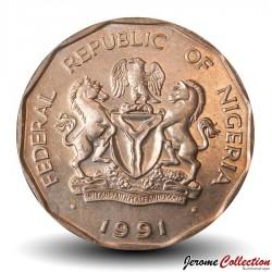 NIGERIA - PIECE de 10 Kobo - Palmiers - 1991