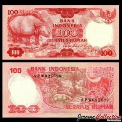 INDONESIE - Billet de 100 Rupiah - Rhinocéros - 1977 P116a