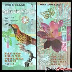 FAUNUS ISLAND - Billet de 1 DOLLAR - Oiseau Tropical - 2020 0001