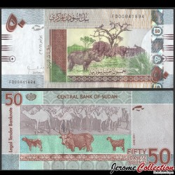 SOUDAN - BILLET de 50 Livres Soudanaise - Animaux de la Jungle - 2011 P75a