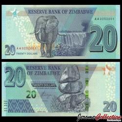 ZIMBABWE - Billet de 20 DOLLARS - Éléphant - 2020 P104a