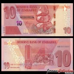 ZIMBABWE - Billet de 10 DOLLARS - Buffles du Cap - 2020 P103a