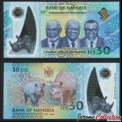 NAMIBIE - Billet de 30 Dollars - Rhinocéros - Polymer - 2020 P18a