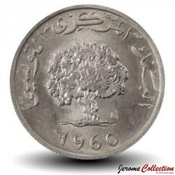 TUNISIE - PIECE de 5 Millimes - Chêne-liège - 1960 Km#282