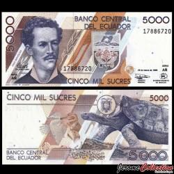 EQUATEUR - Billet de 5000 Sucres - Tortue des Galapagos - 06.03.1999 P128c.1
