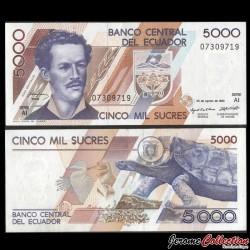 EQUATEUR - Billet de 5000 Sucres - Tortue des Galapagos - 20.08.1993 P128a.7