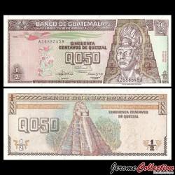 GUATEMALA - Billet de 50 Centavos de Quetzal - 1992 P79a