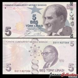 TURQUIE - Billet de 5 Livre Turque - Prof Dr. Aydın Sayılı - 2020 P222d