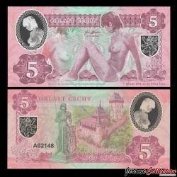 RÉPUBLIQUE TCHÈQUE / BOHEME- Billet de 5 KORUN - Jeune Femme Nue - Polymer - 2020 0005 - Medina