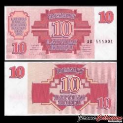 LETTONIE - Billet de 10 Latvijas Rublis (Roubles letton) - 1992 P38a