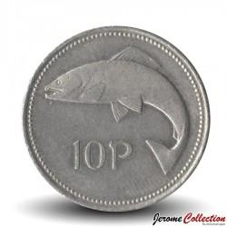 IRLANDE - PIECE de 10 Pence - Un saumon - 1994 Km#29