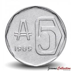 ARGENTINE - PIECE de 5 Australes - Casa de Tucumán - 1989 Km#101